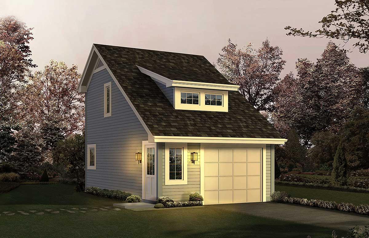 Garage With Studio Apartment  57163HA  Architectural
