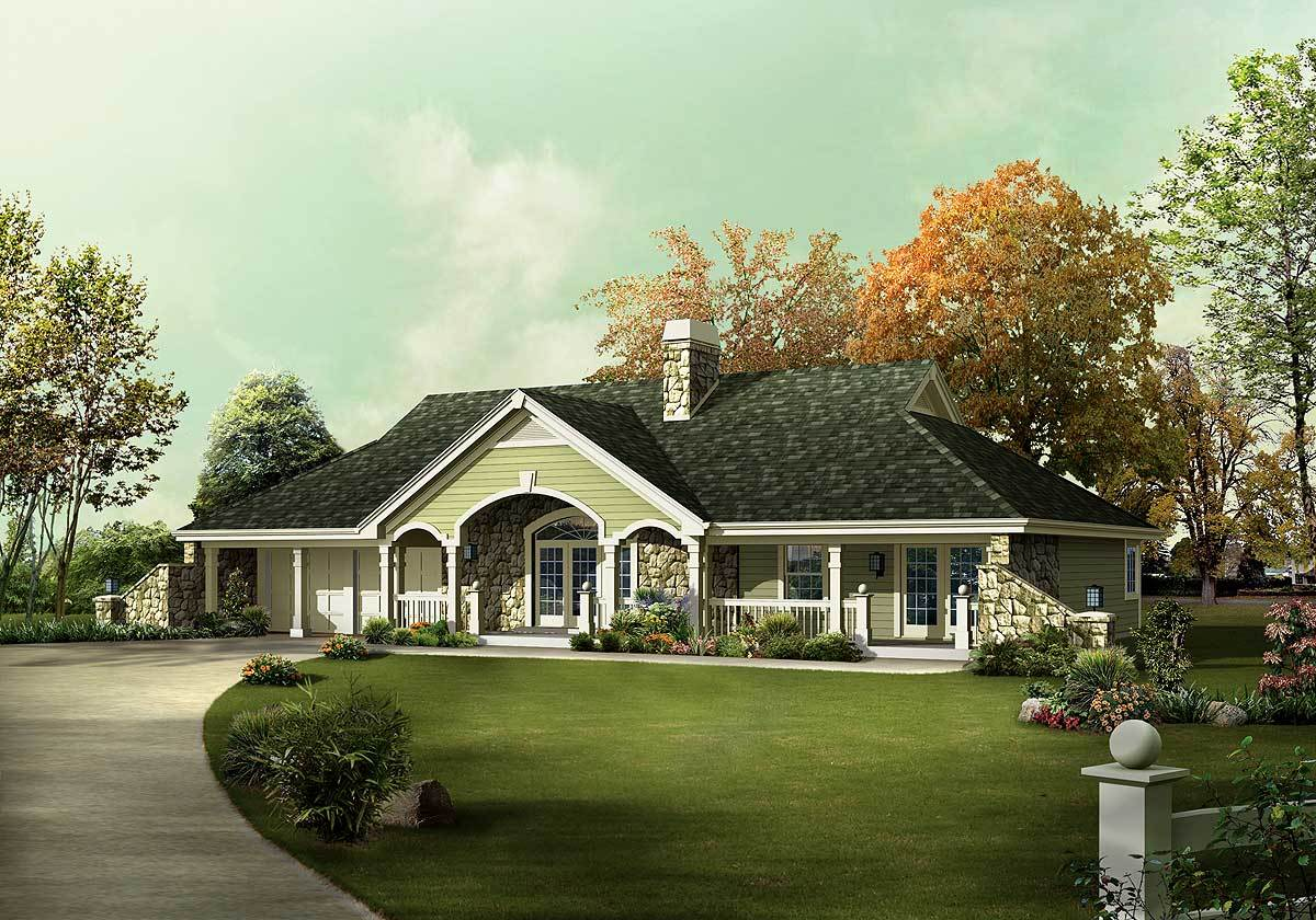 Unique Country Ranch Home Plan - 57241ha Architectural
