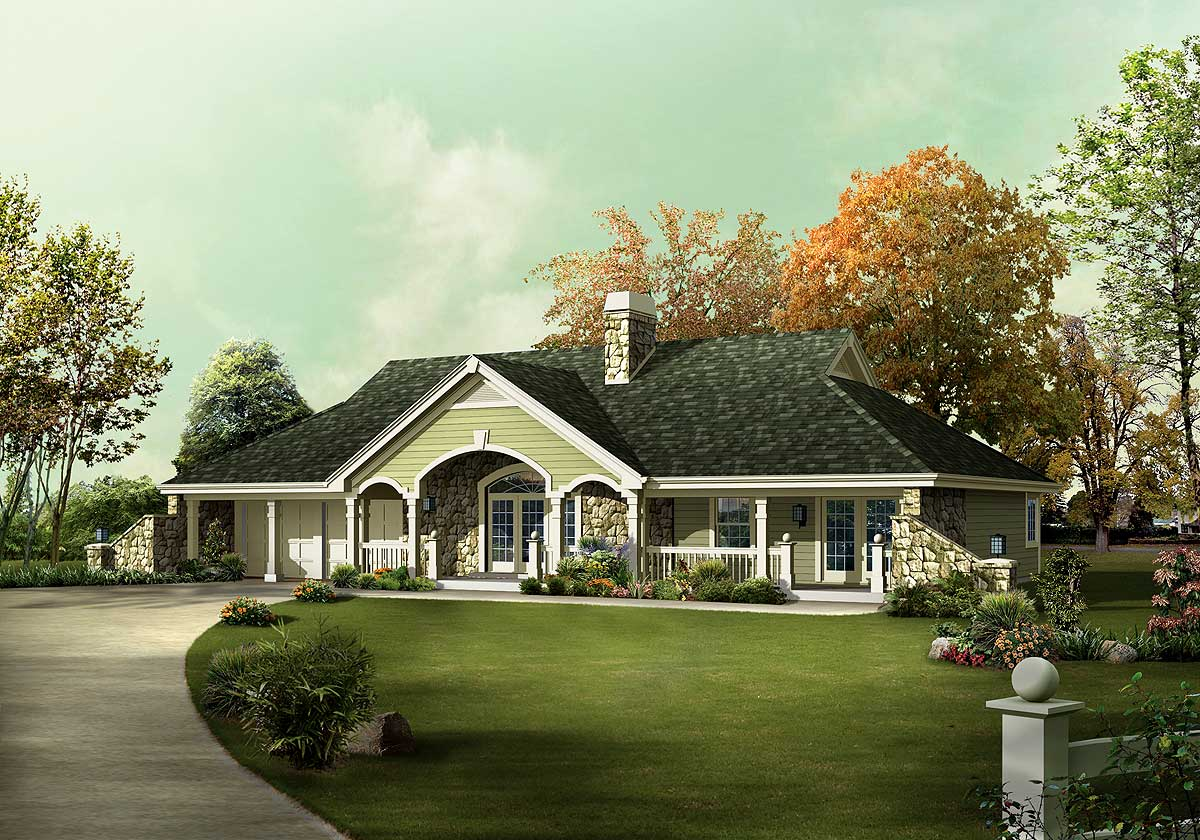 Country Ranch House Plans with Porch