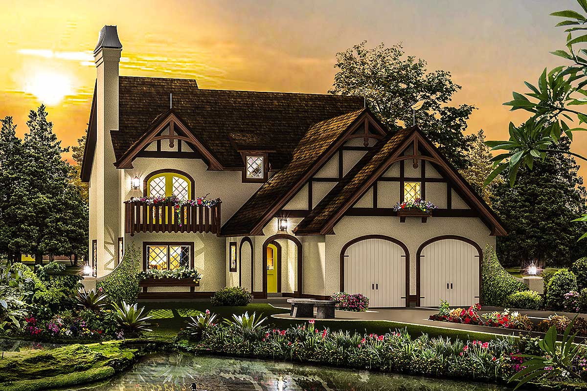 Narrow Lot Tudor Home Plan - 57265ha Architectural