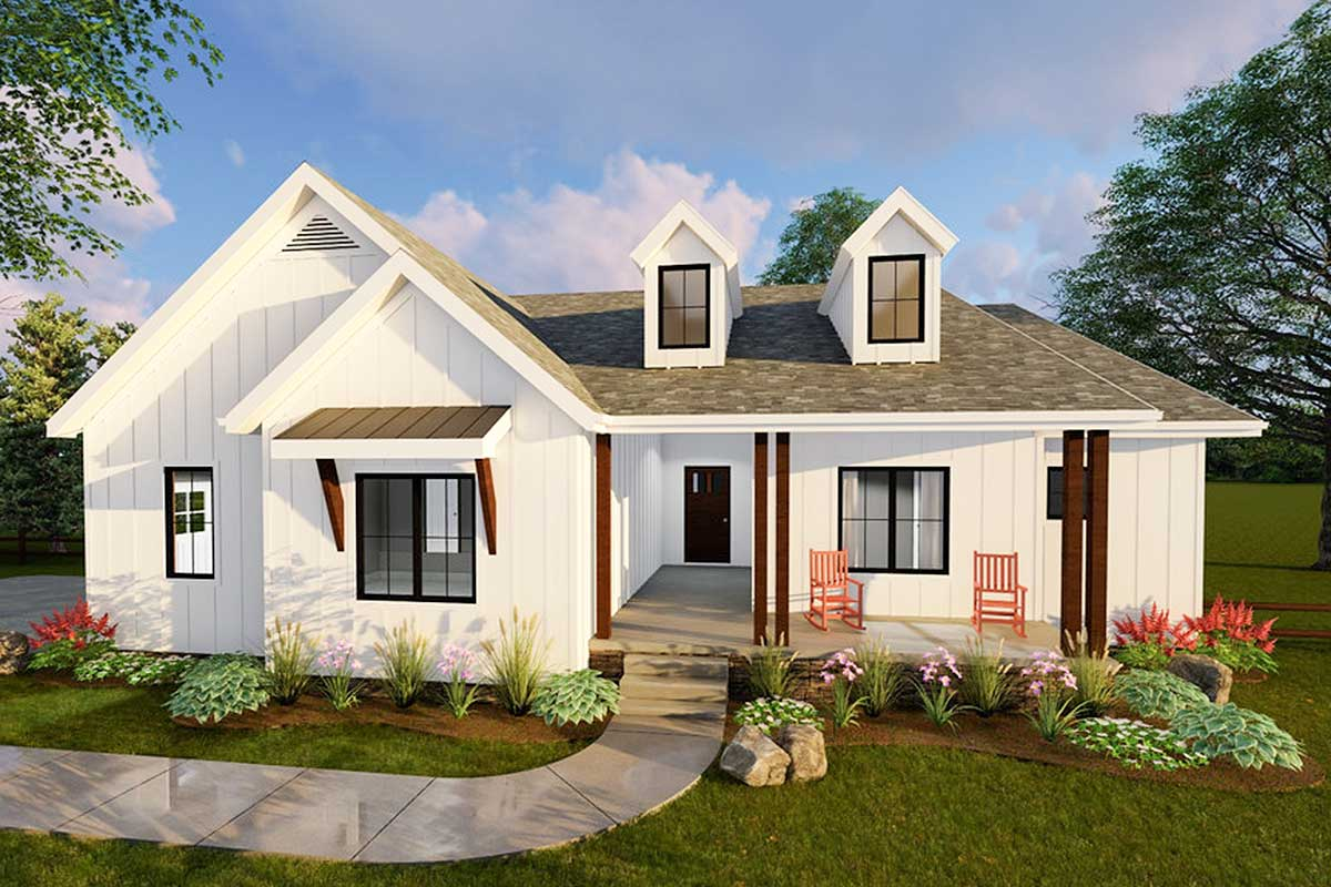 Compact Modern Farmhouse Ranch Home Plan - 62500dj