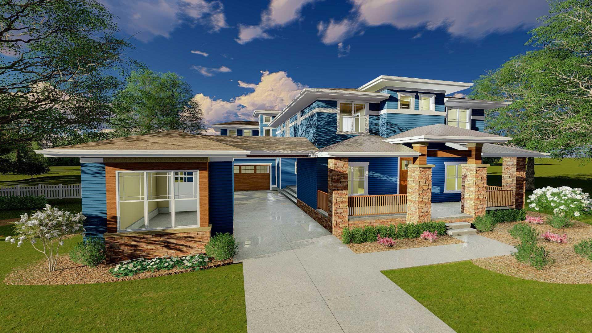 Prairie Style House Plan With Porte Cochere - 62561dj