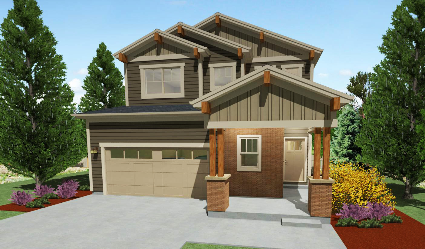 Narrow Lot Craftsman House Plan - 64416sc Architectural