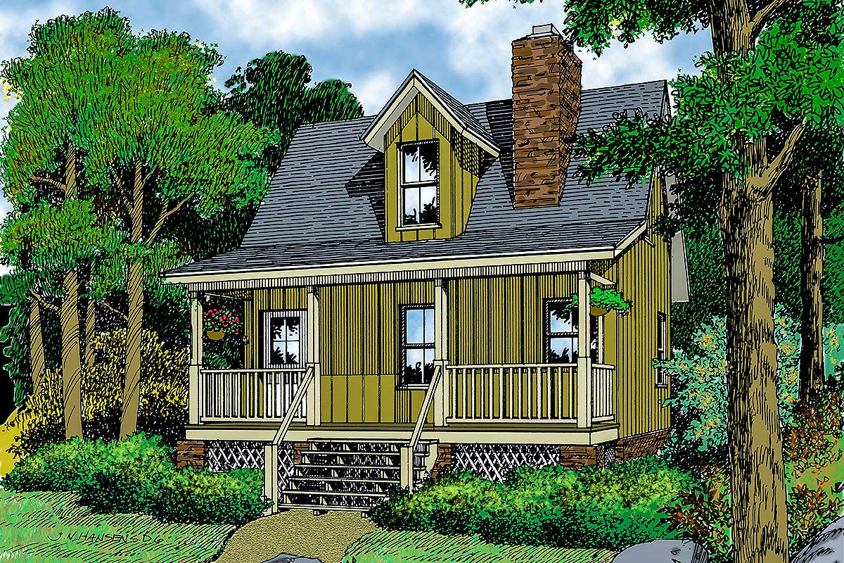 Tiny House Plan With Open Upstairs 6497hd