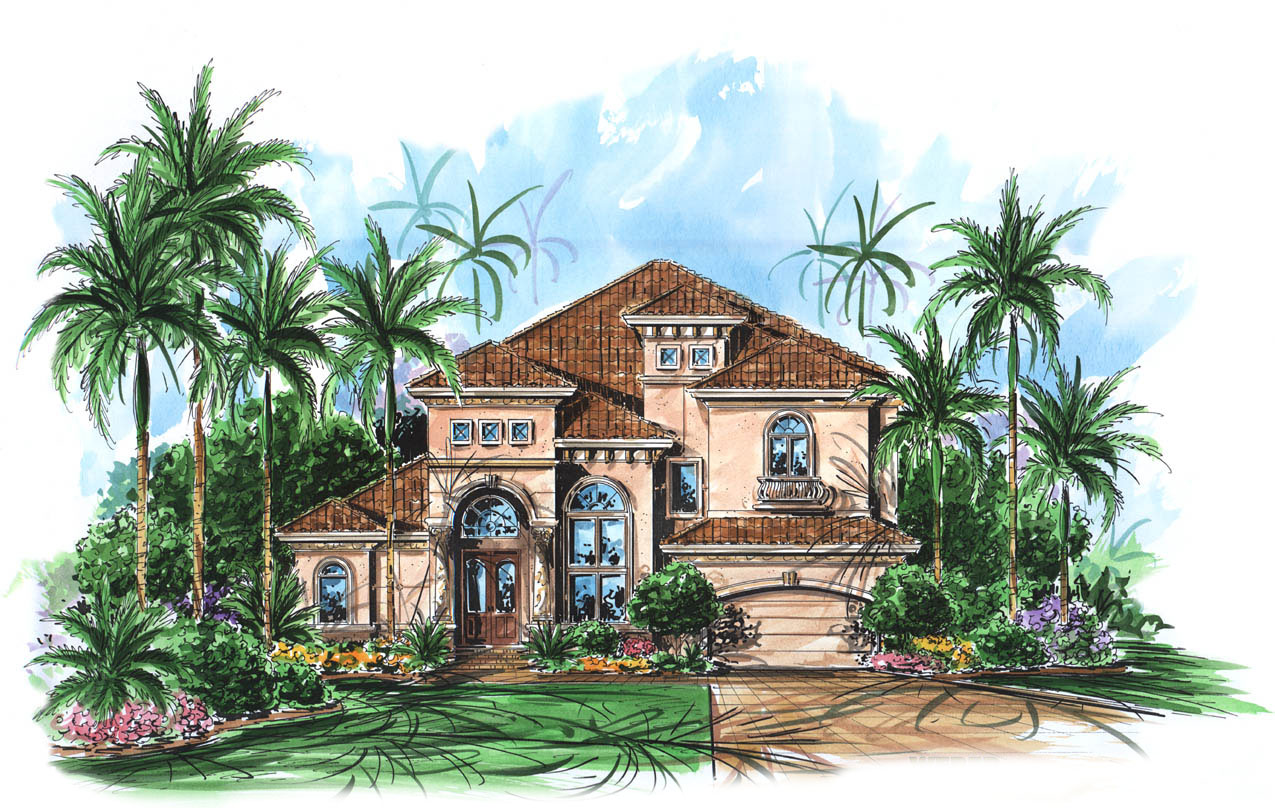 Two Story Mediterranean House Plan - 66010we