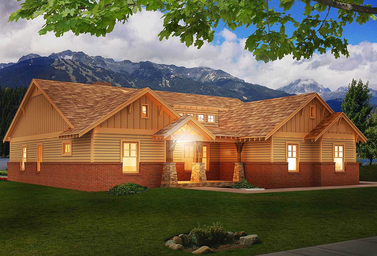 Craftsman House Plan With Vaulted Family Room - 68405vr