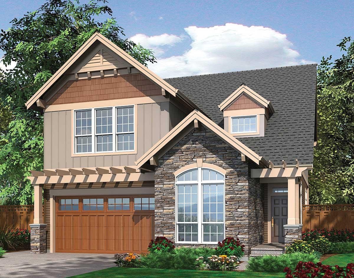 Spacious Open Narrow Lot Home Plan 69088am