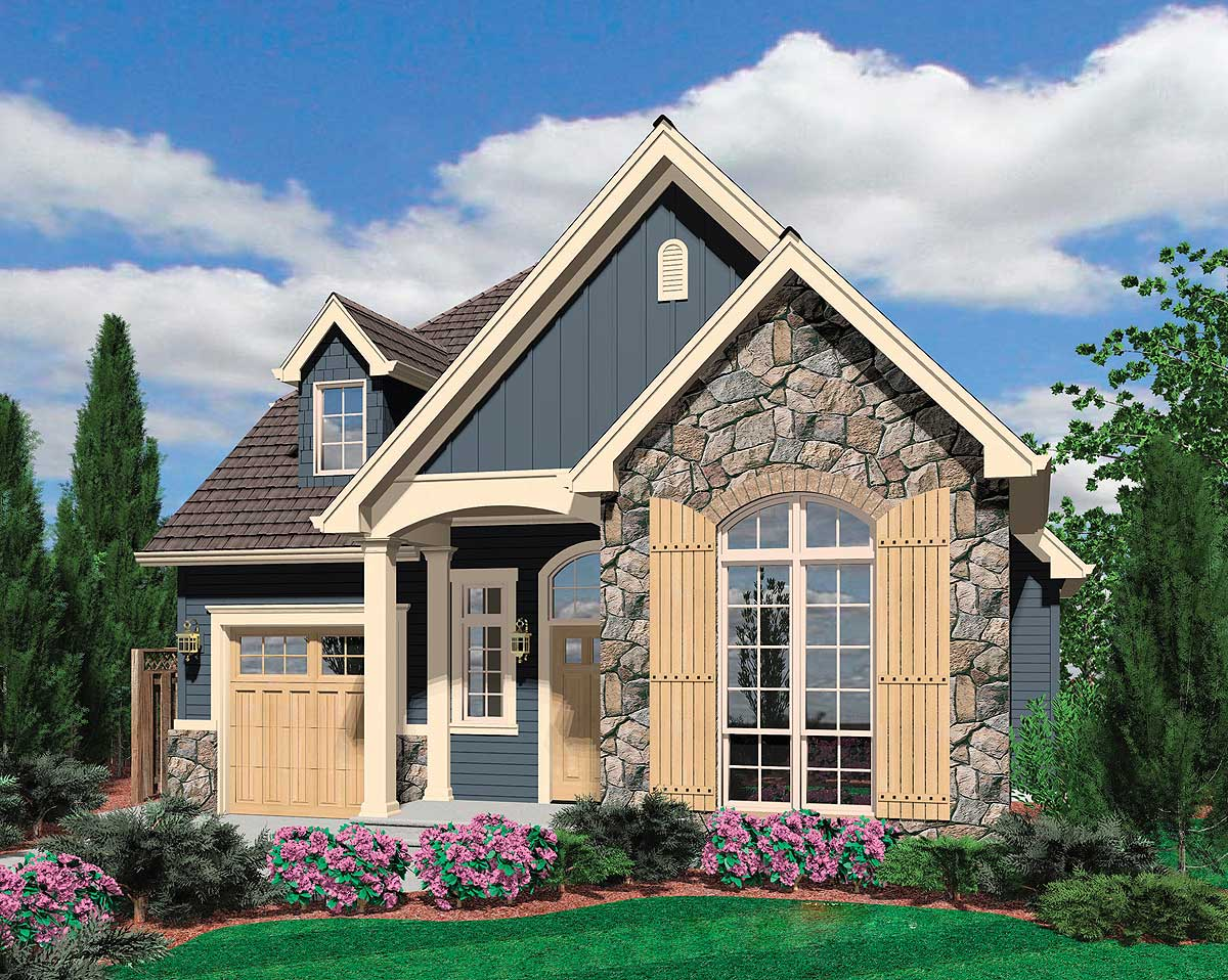 European Cottage Plan With High Ceilings - 69128am