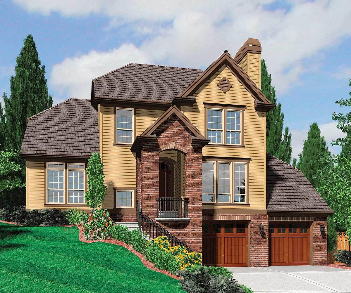 Hillside Plan with Garage Under  69131AM  Architectural