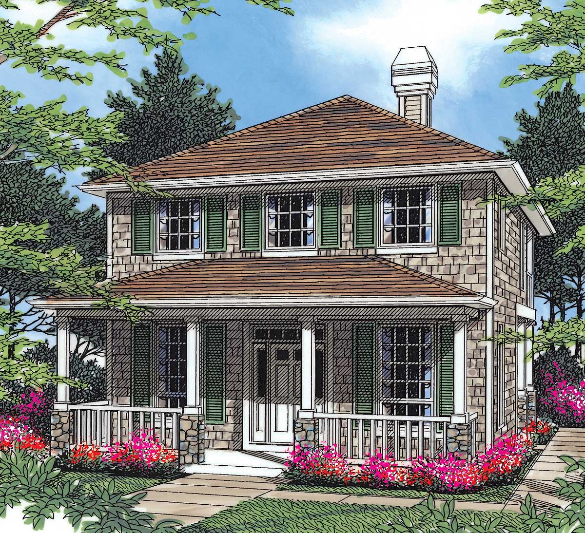 Traditional Plan With Two Story Great Room - 69284am