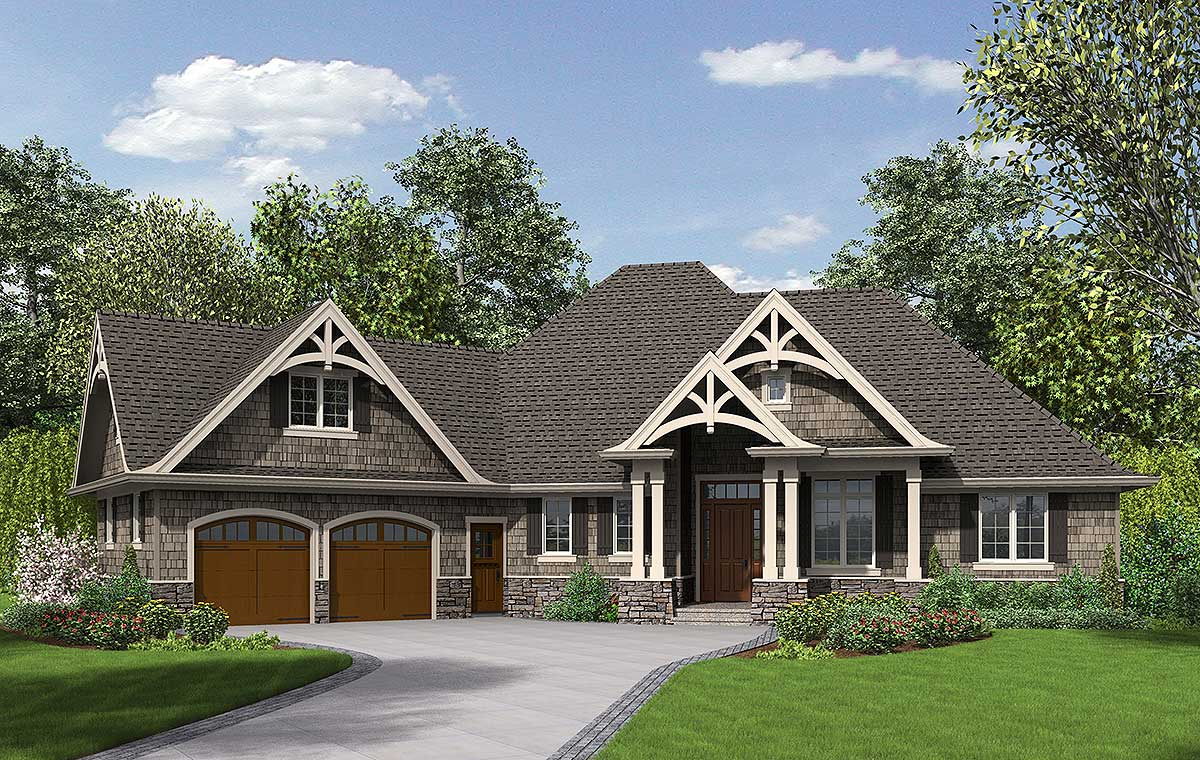 3 Bedroom Craftsman Home Plan 69533am Architectural