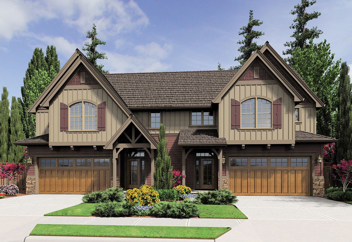 Duplex With Old World Style 69567am Architectural