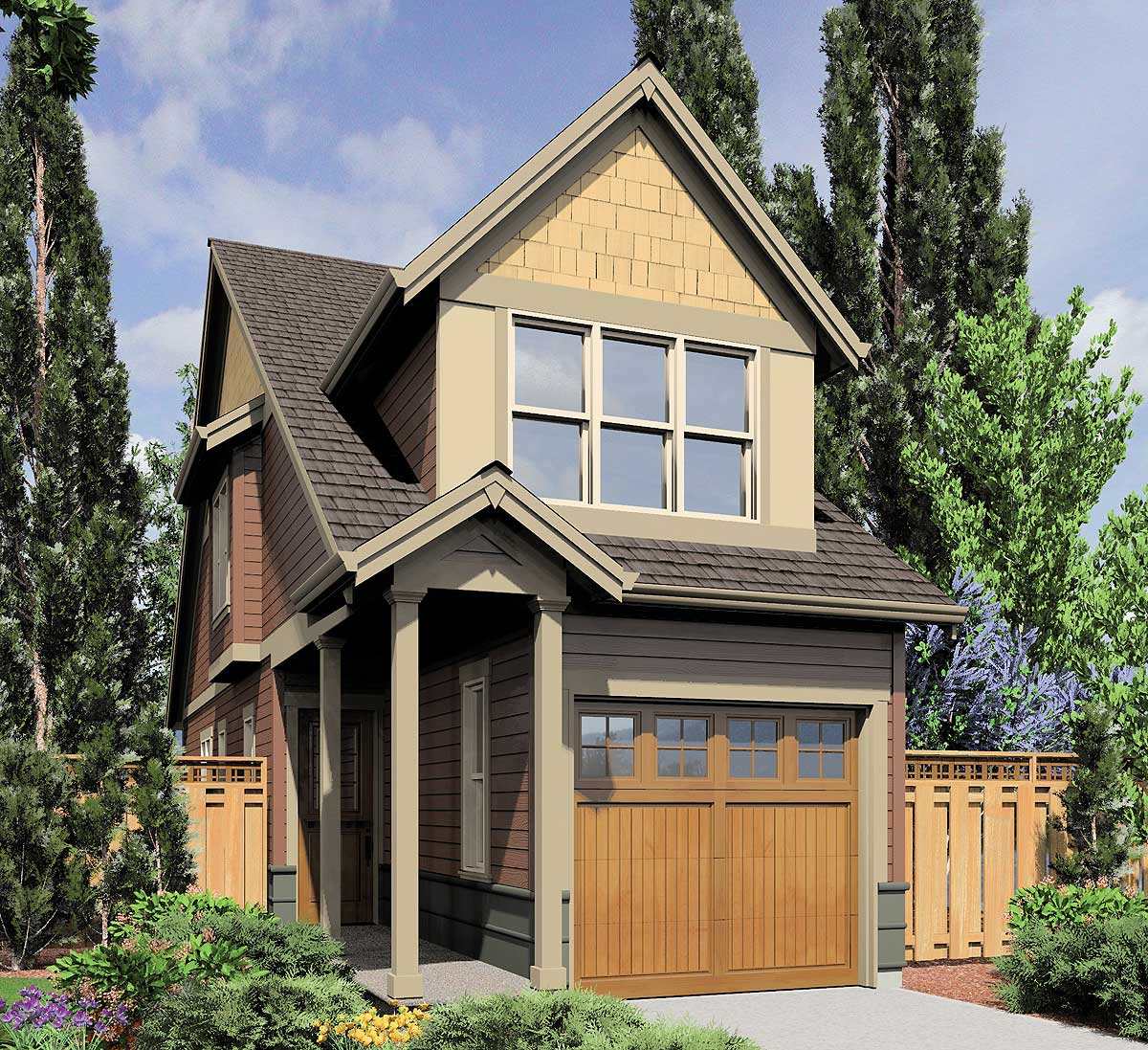 Narrow House Plans with Front Garage