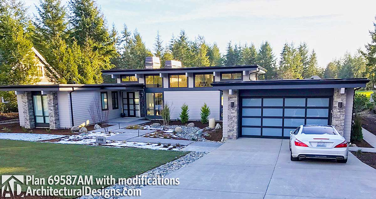 Modern House Plan With Front To Back Living 69587am