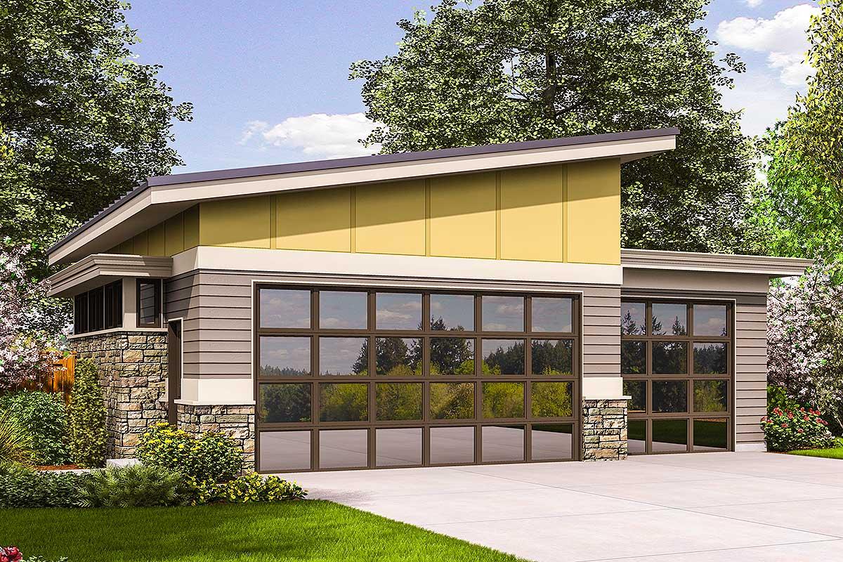 Contemporary Garage Plan - 69618am Architectural Design