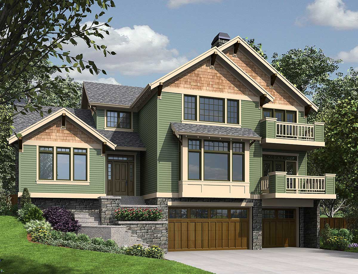 Decks and Drive Under House Plan  69620AM  Architectural