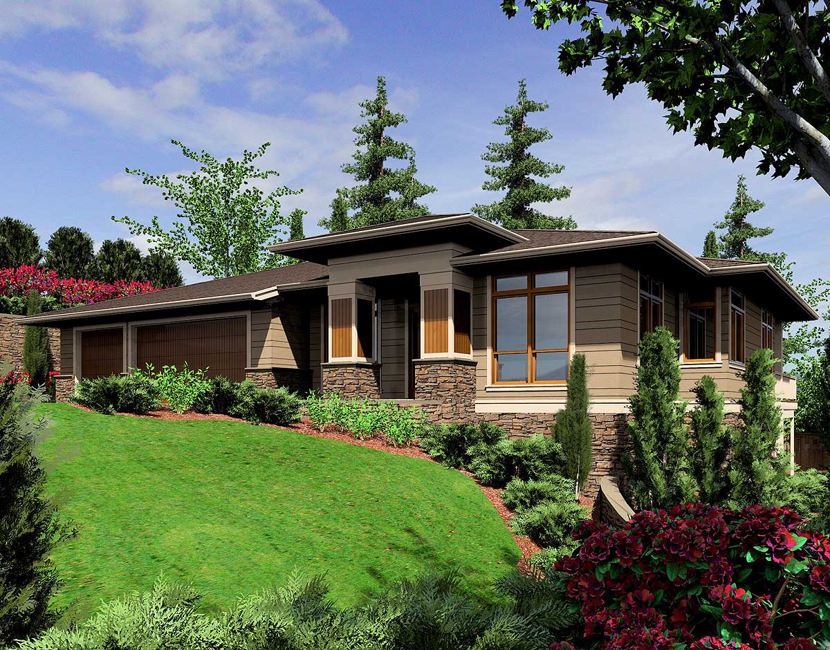 Modern Prairie-style Home Plan - 6966am Architectural