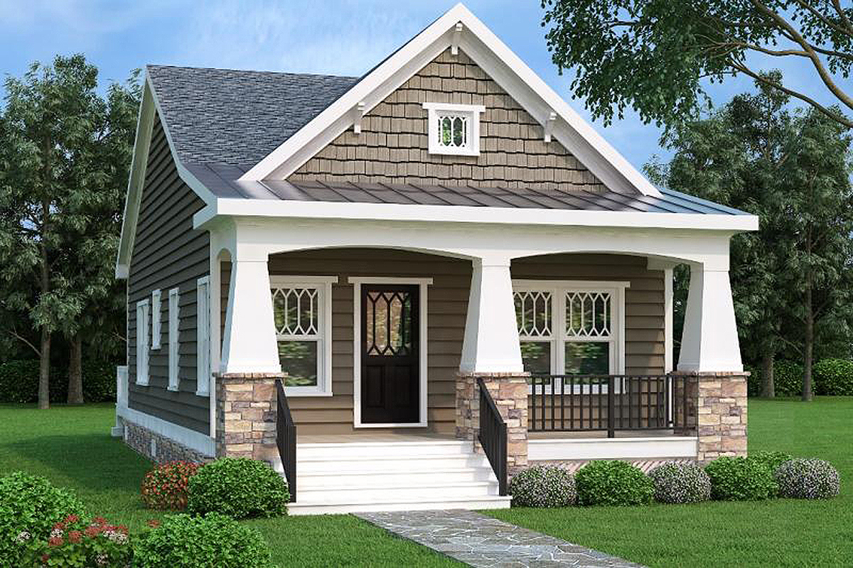 2 Bed Bungalow House Plan with Vaulted Family Room
