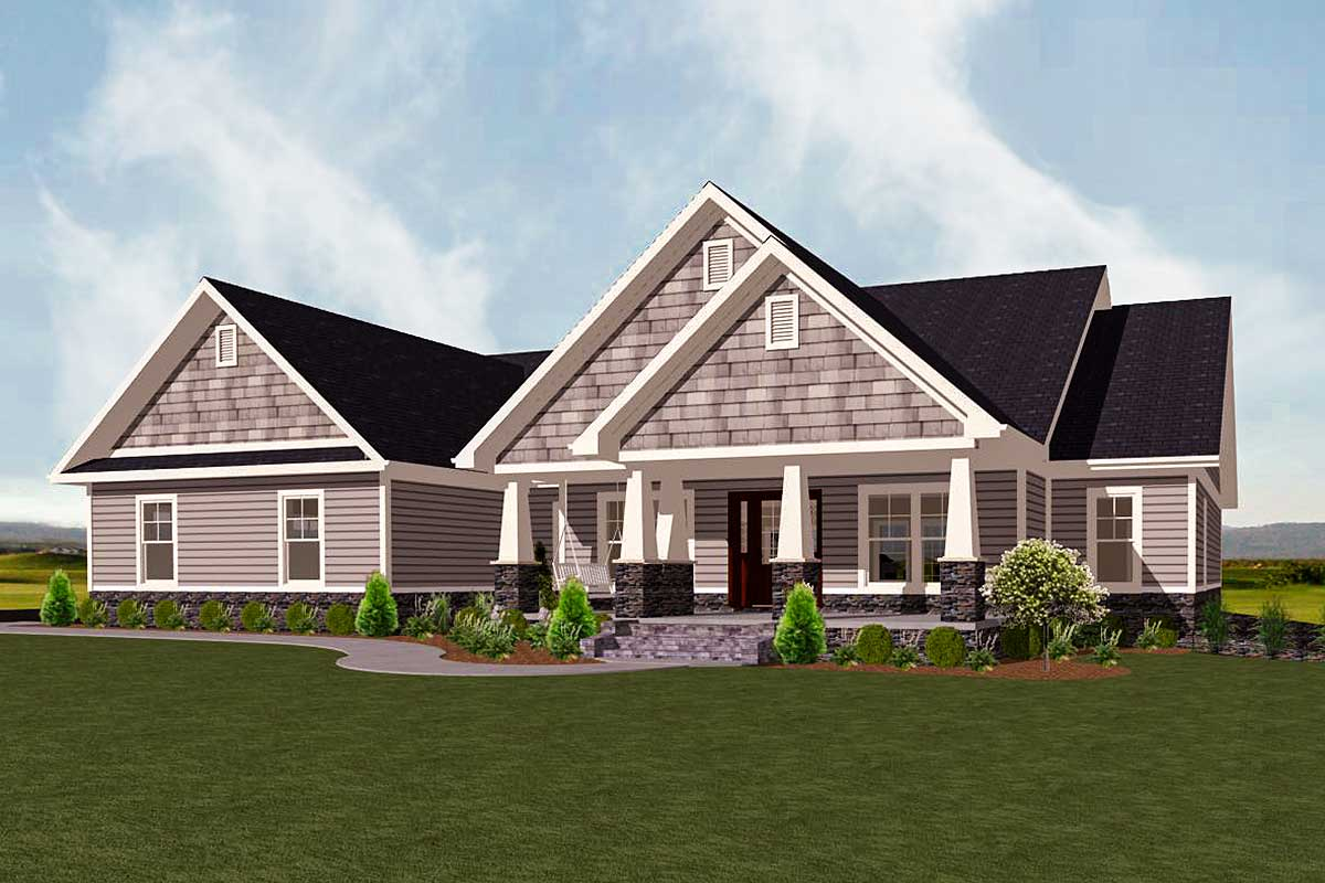 Level Shingle Style House Plan - 77615fb