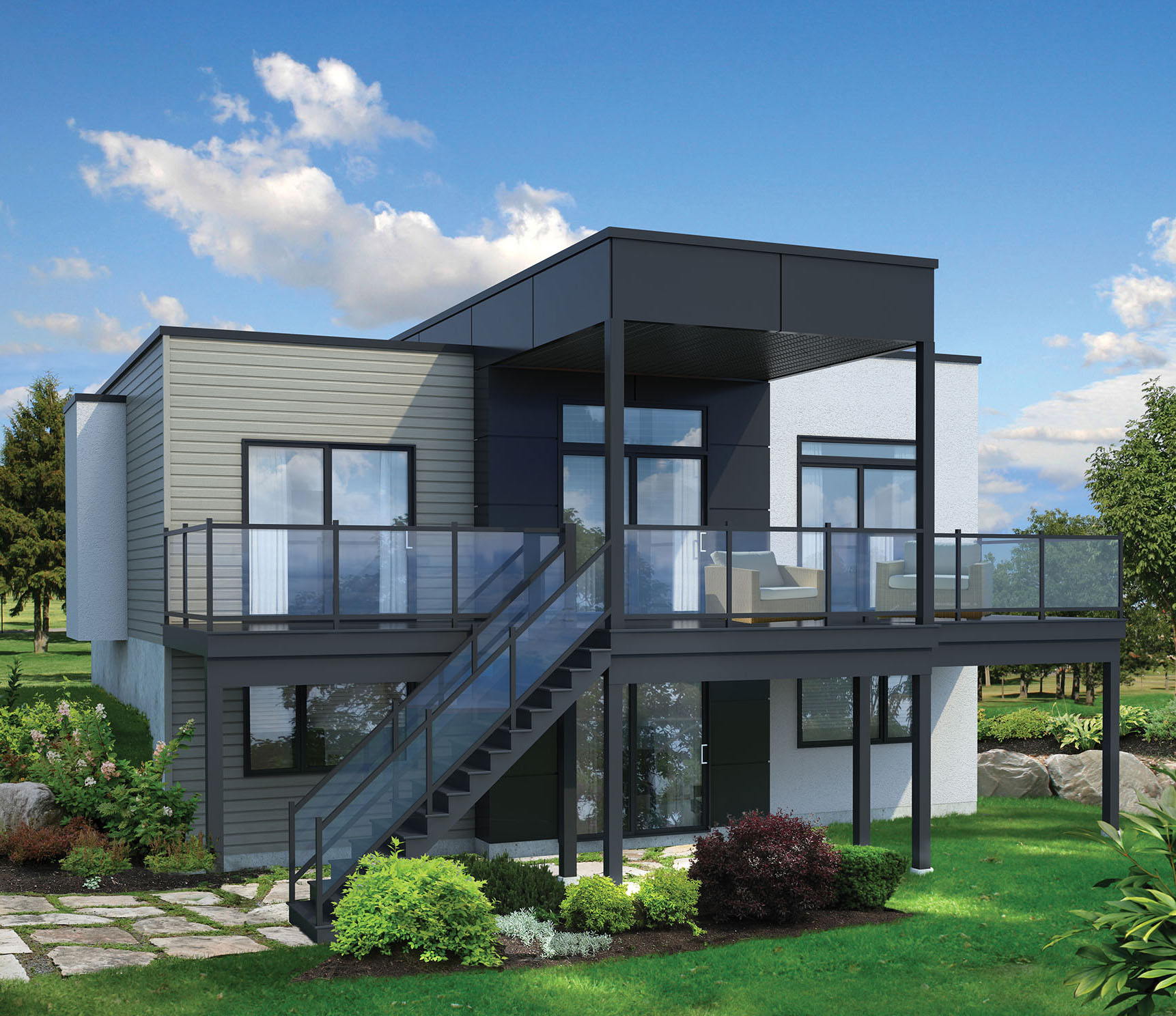 2 Bed Modern House Plan for Sloping Lot  80780PM