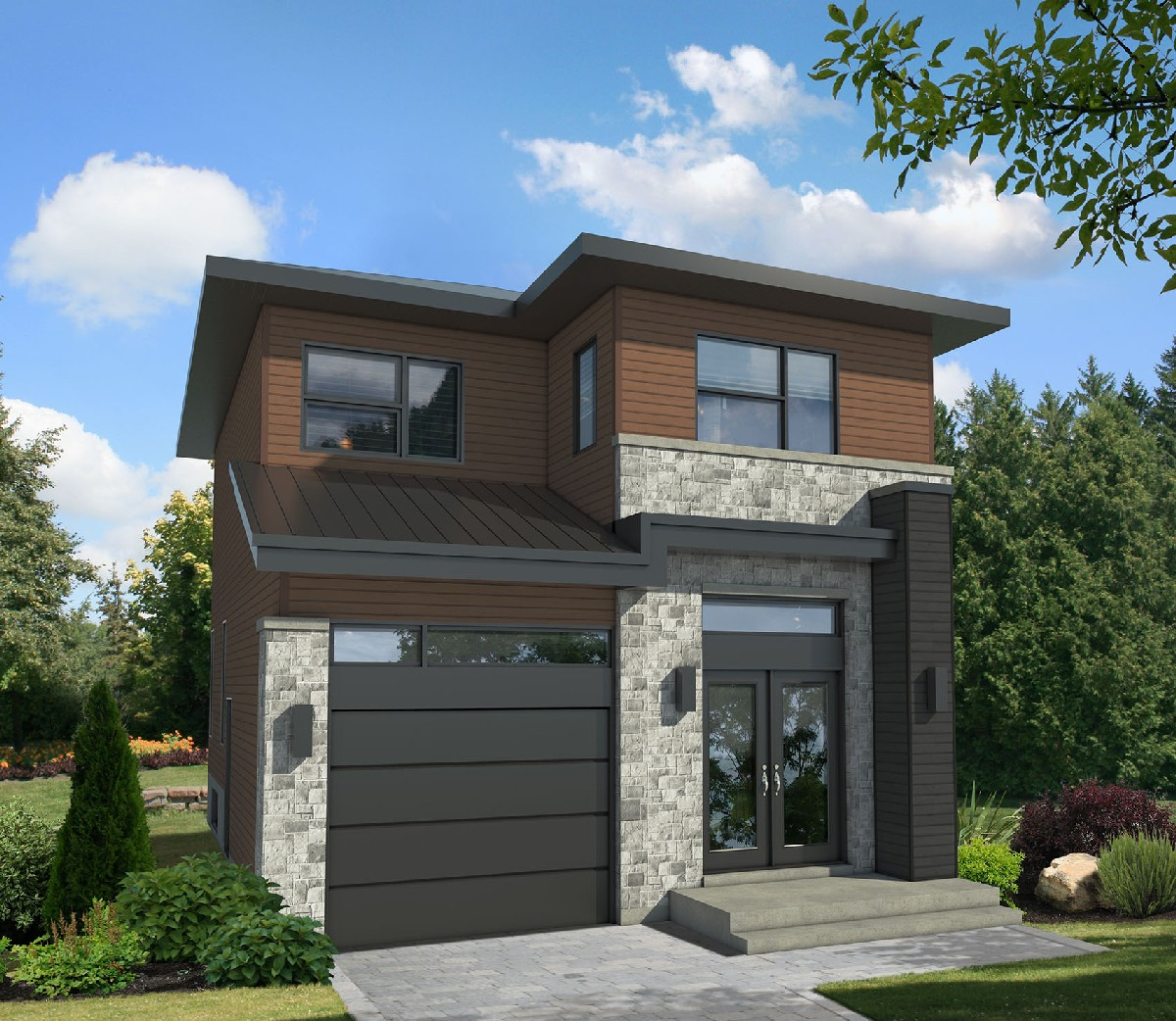 Compact Two Story Contemporary House Plan 80784pm