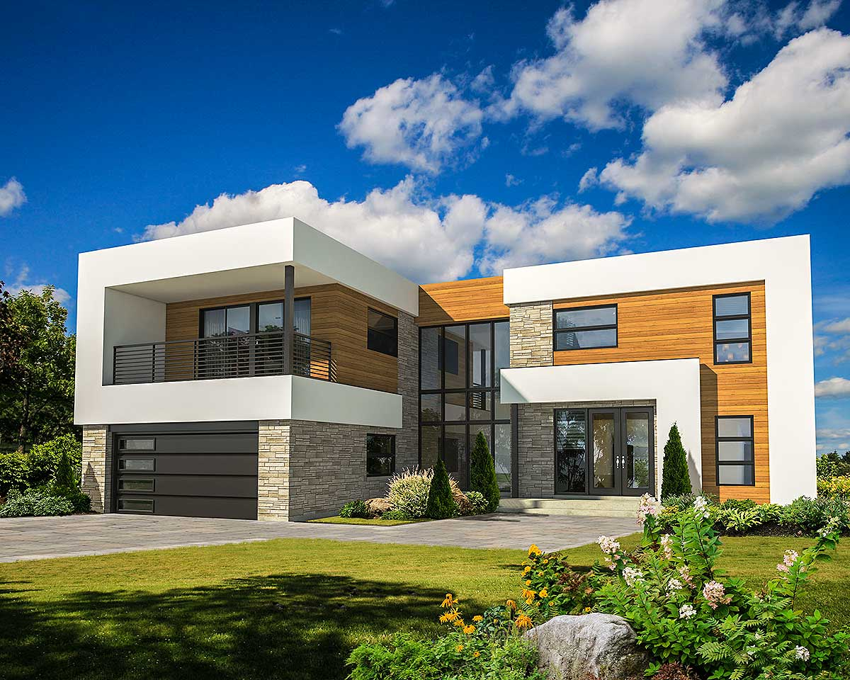 4 Bed Modern House Plan With Master Deck - 80828pm