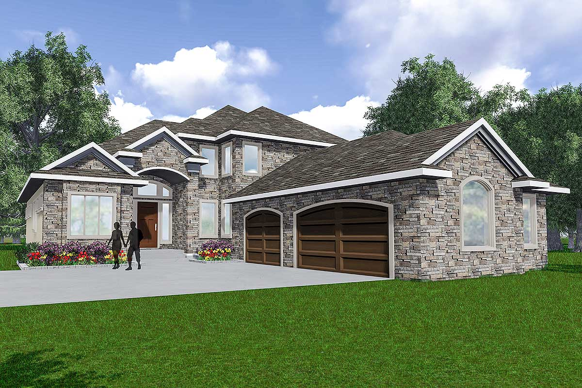 European Home With Courtyard Style Garage - 81643ab