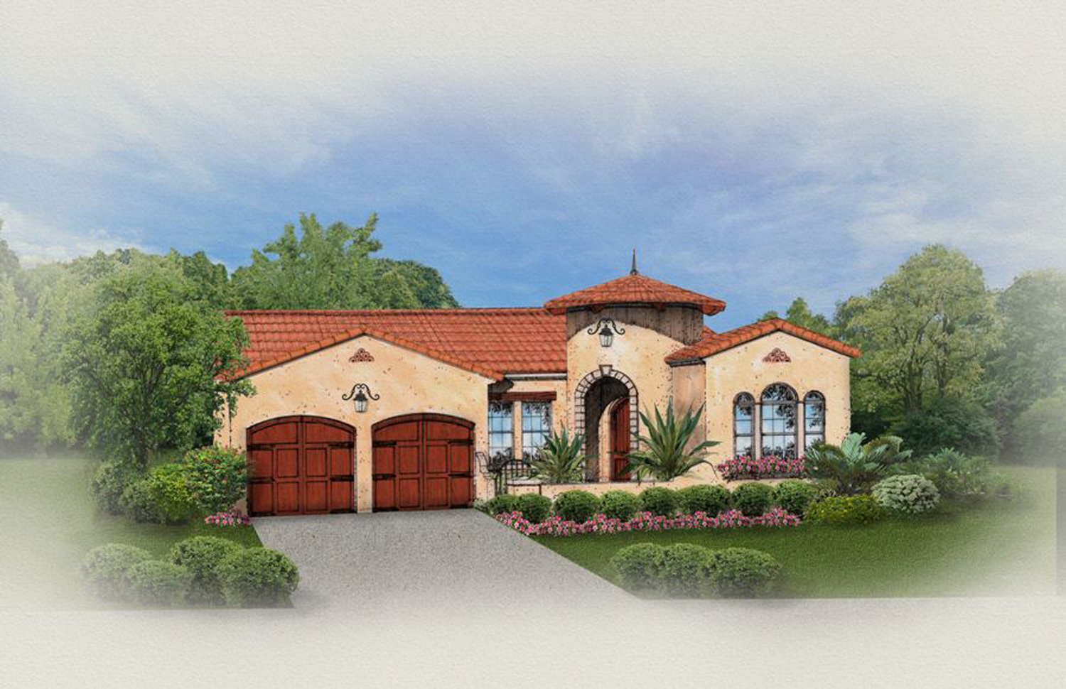 Mediterranean Home With Front Courtyard - 82019ka