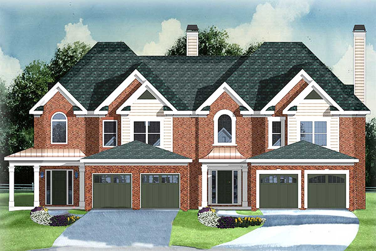 2 Car Garage with Townhouse Plans