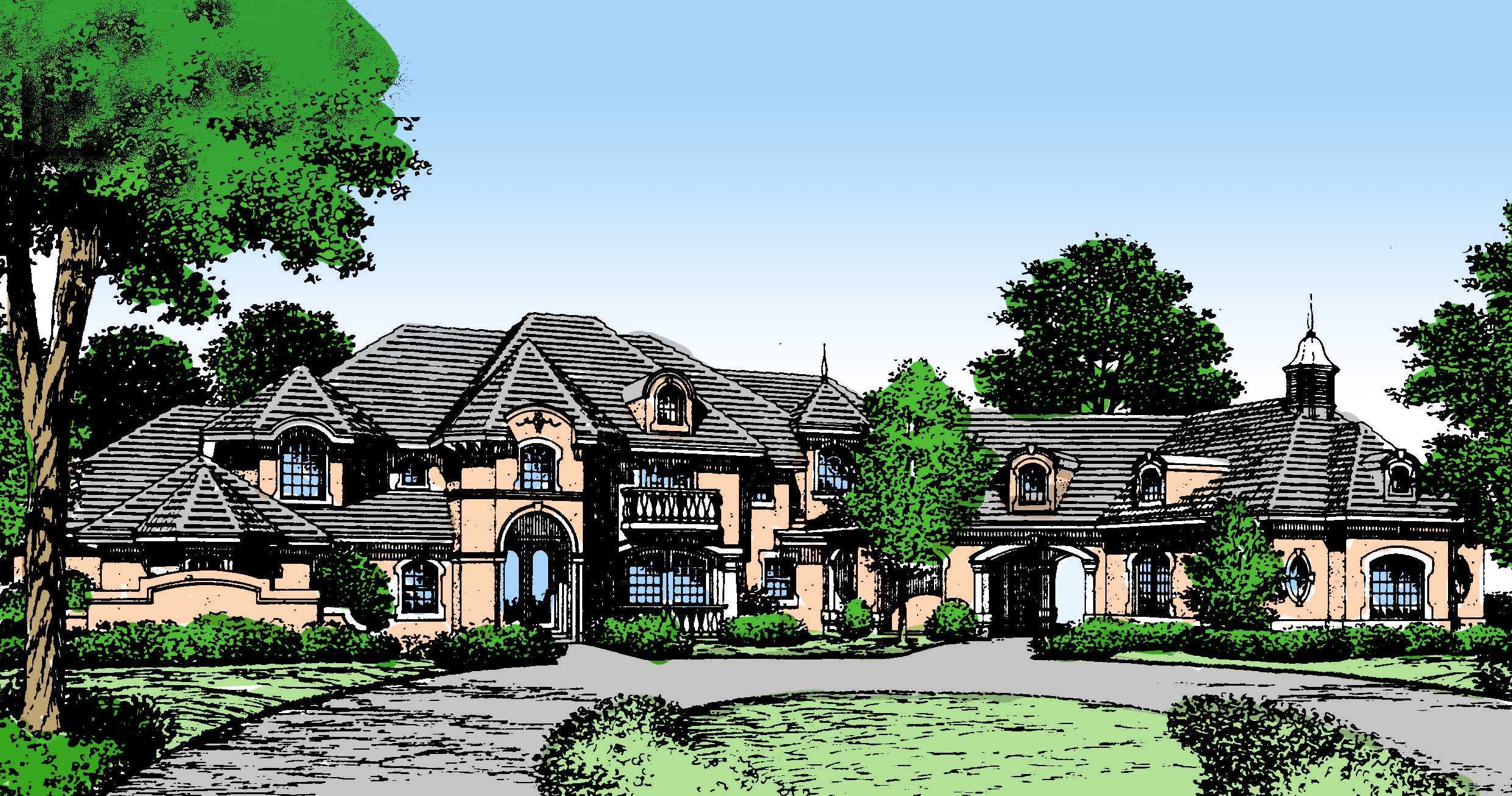 French Country Estate Home Plans