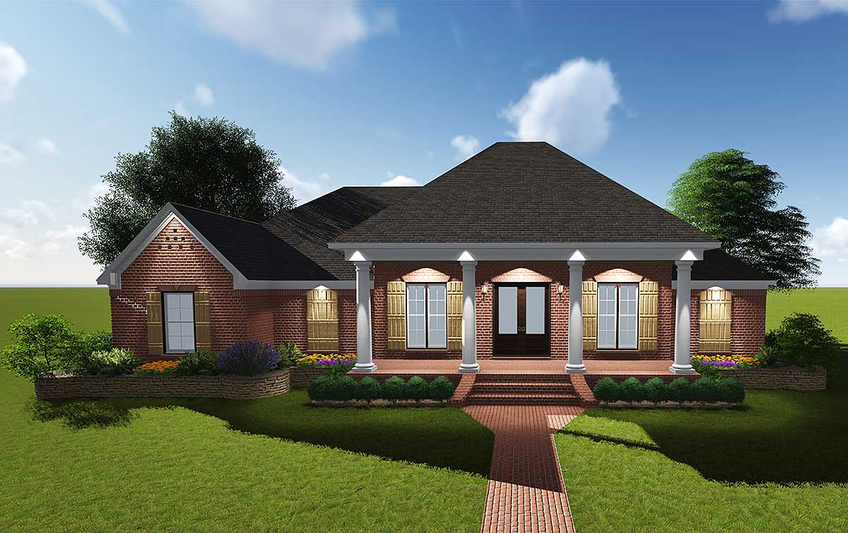 Attractive Acadian With Grand Rear Porch  83878jw