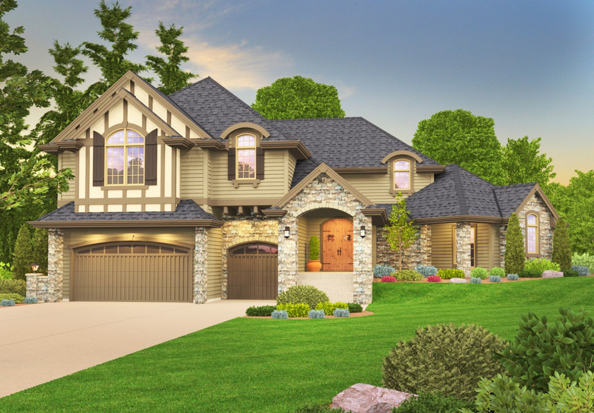 Distinctive Tudor house Plan with Casita  85069MS
