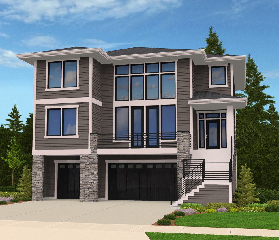 Modern House Plan Front-sloping Lot - 85102ms 2nd