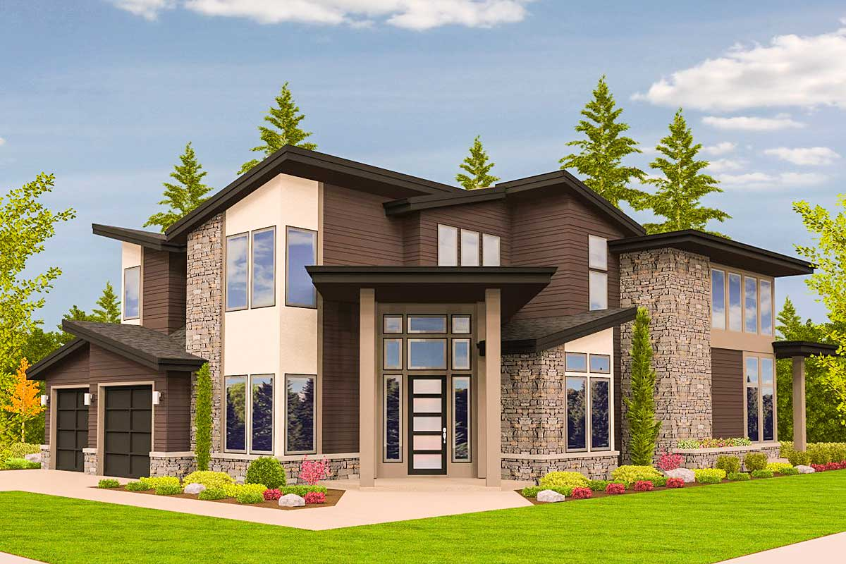 Angled Entry 5 Bed Modern House Plan  85123MS  Architectural Designs  House Plans