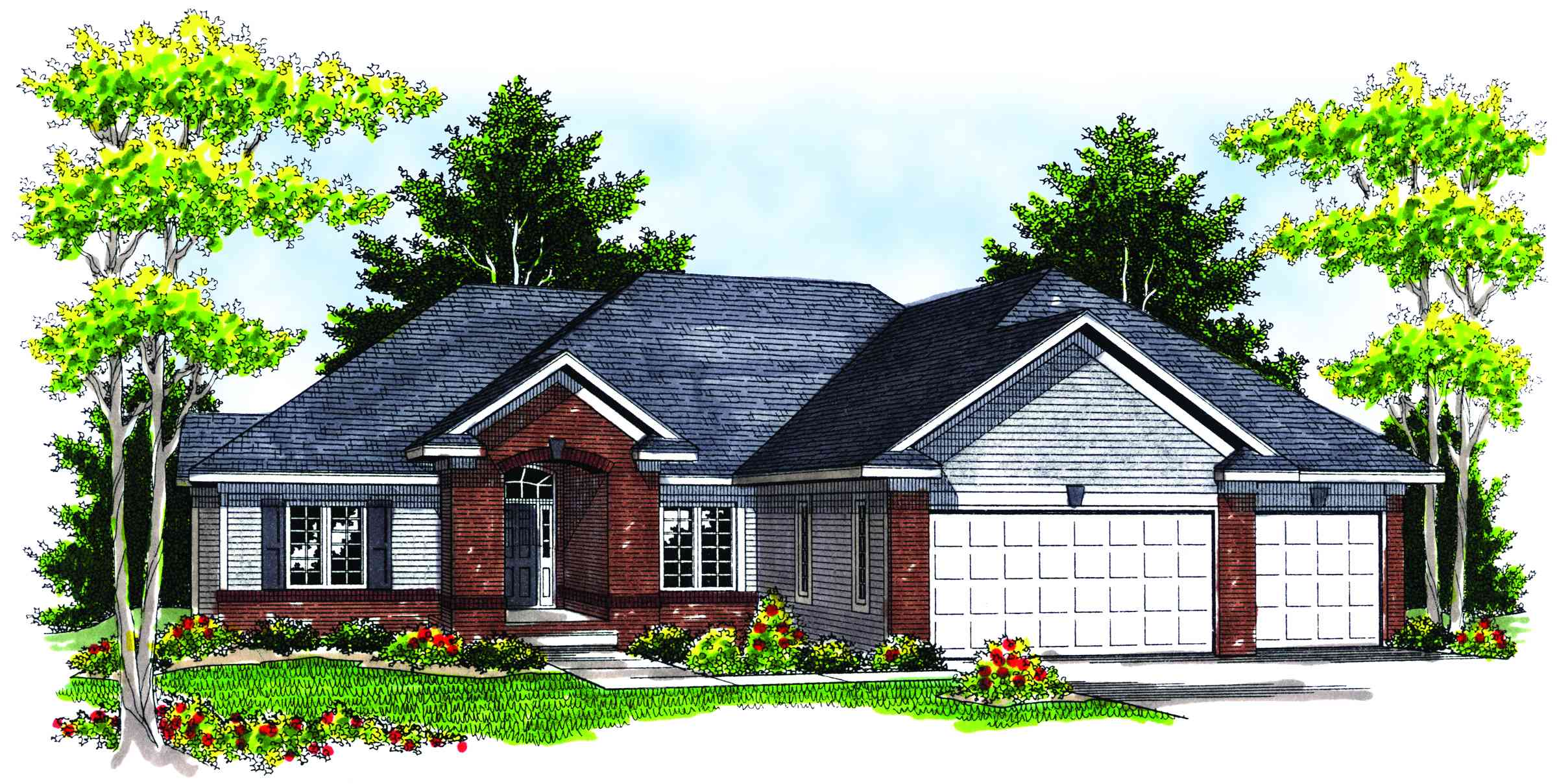 Ranch House Plans with Hip Roofs