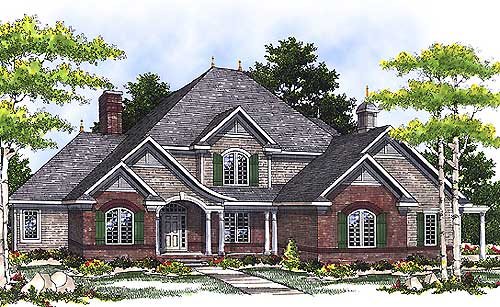 French Country Two-Story Home Plan - 89194AH