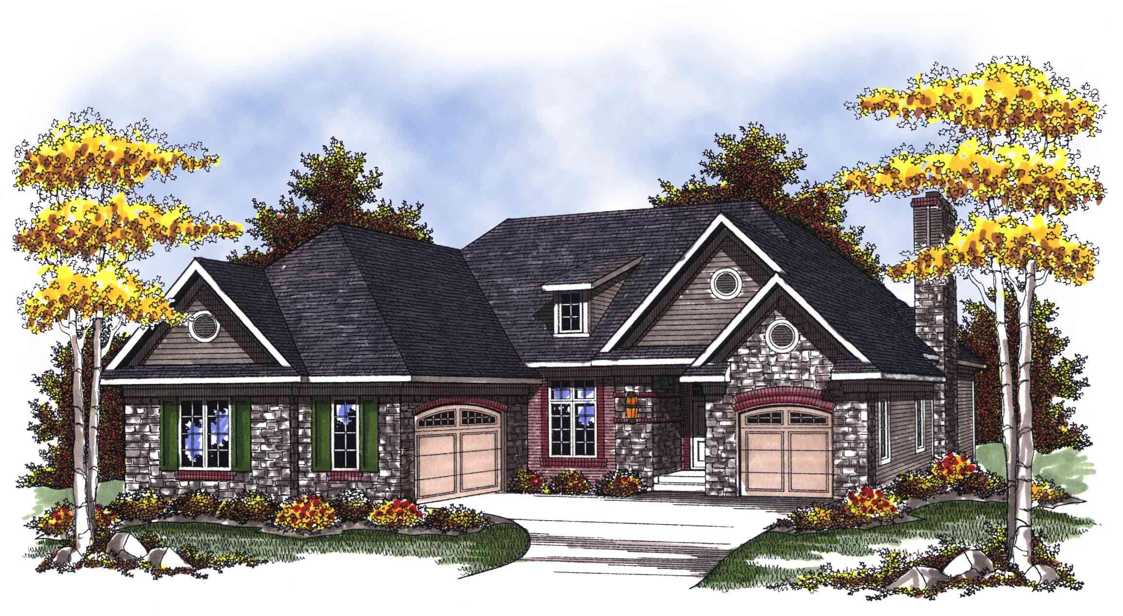 Split Ranch Home Plan with 3 Car Garage