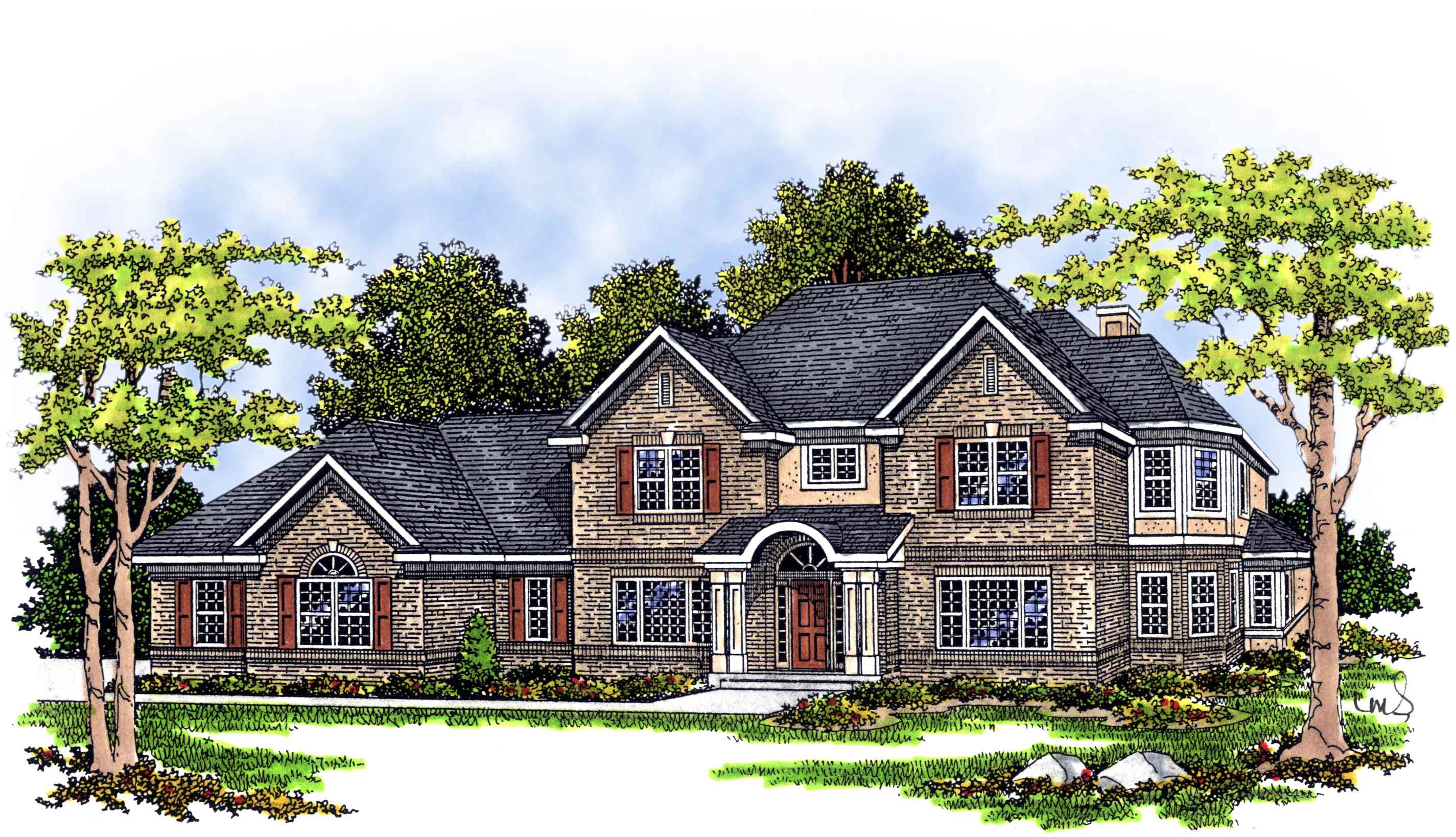Library Two-Story House Plans