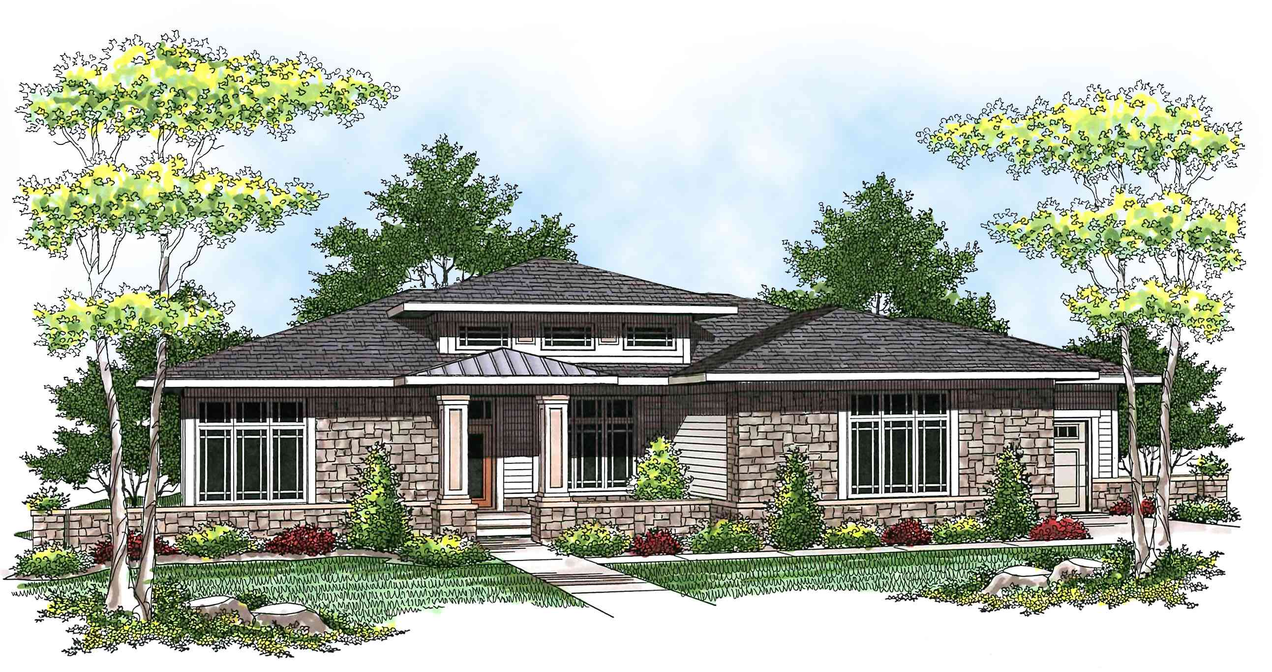 Prairie Style Ranch Home Plan - 89684ah Architectural