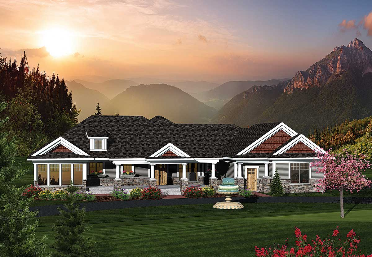 2 Bedroom Rambling Ranch Home Plan - 89822ah