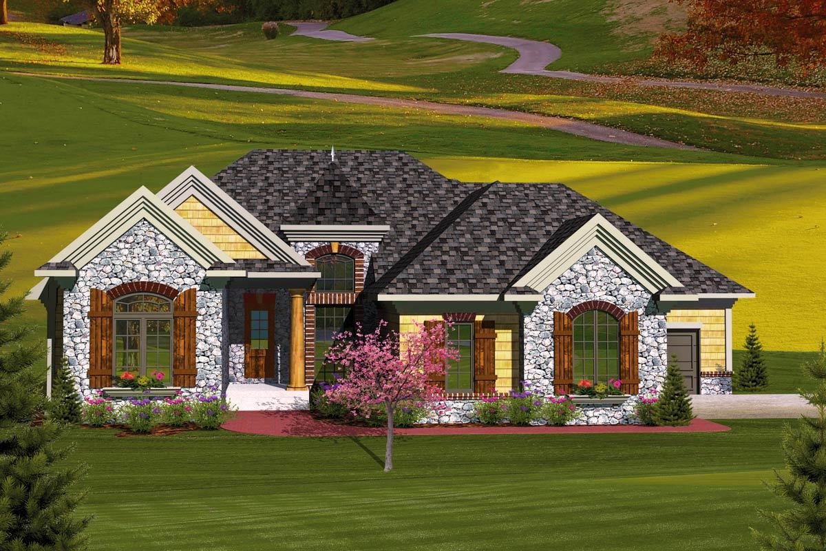 3 Bedroom European Home Plan - 89827ah Architectural