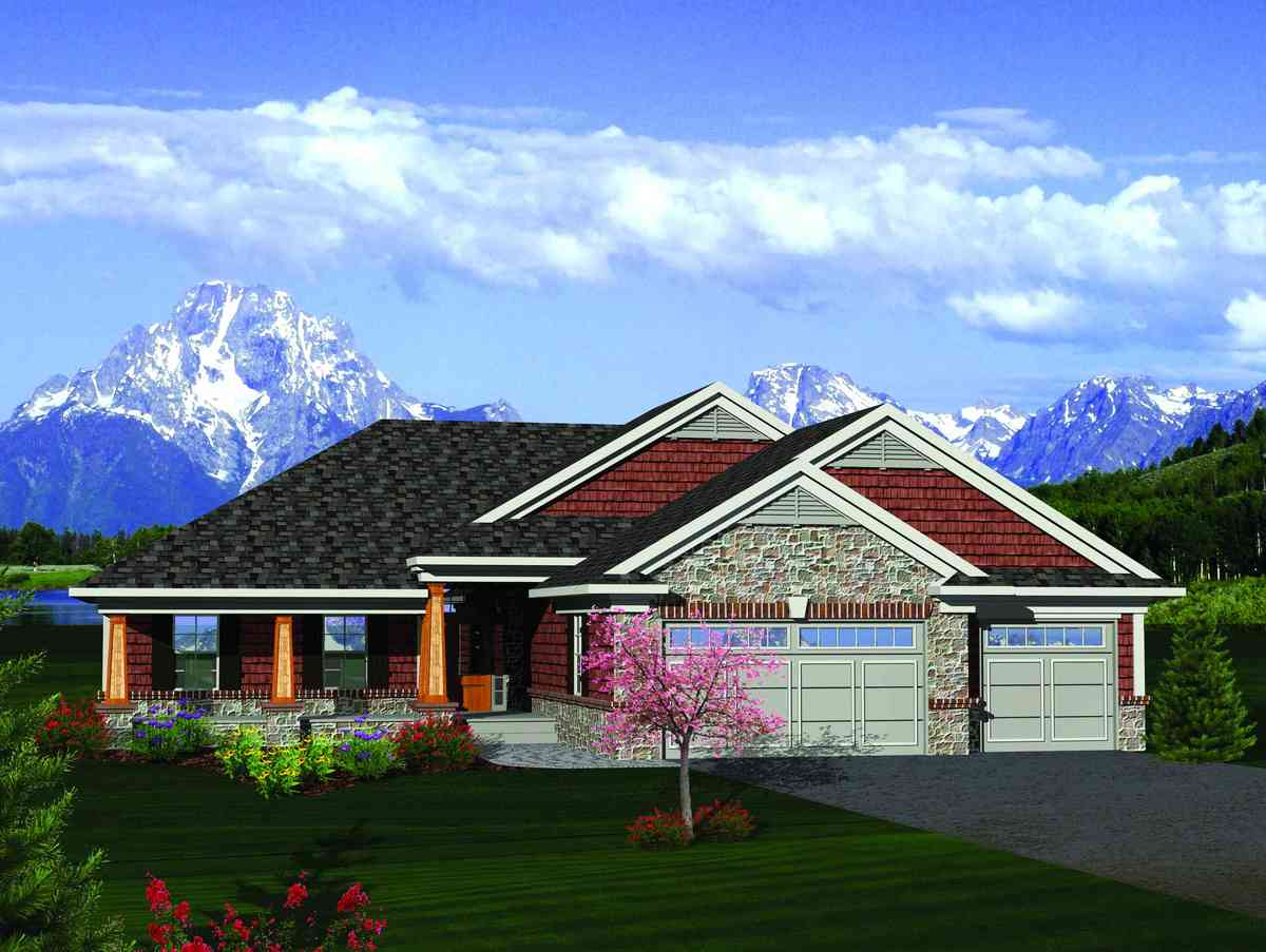 Craftsman Ranch House Plans with Sun Room