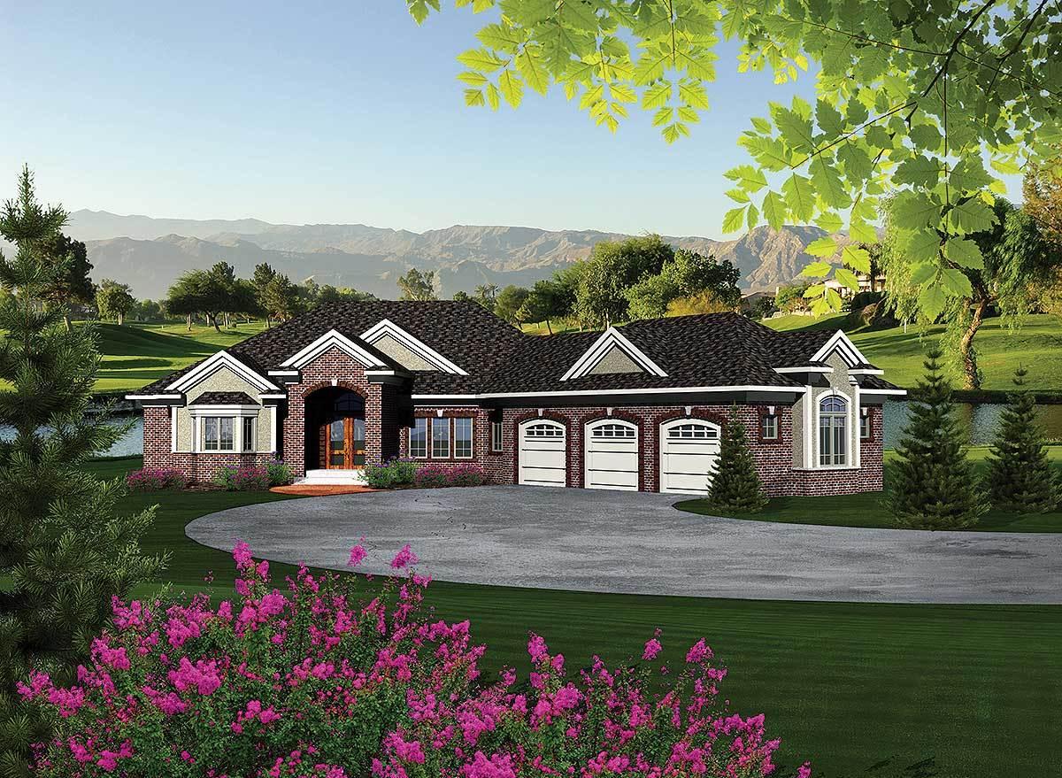 Ranch Home Plan With Walkout Basement - 89856ah