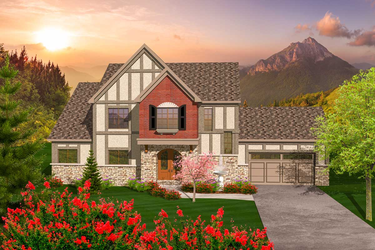 2 Story Tudor Style House Plan - 89889ah Architectural