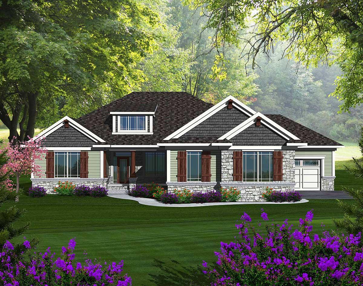 Craftsman Ranch With Walkout Basement - 89899ah 1st