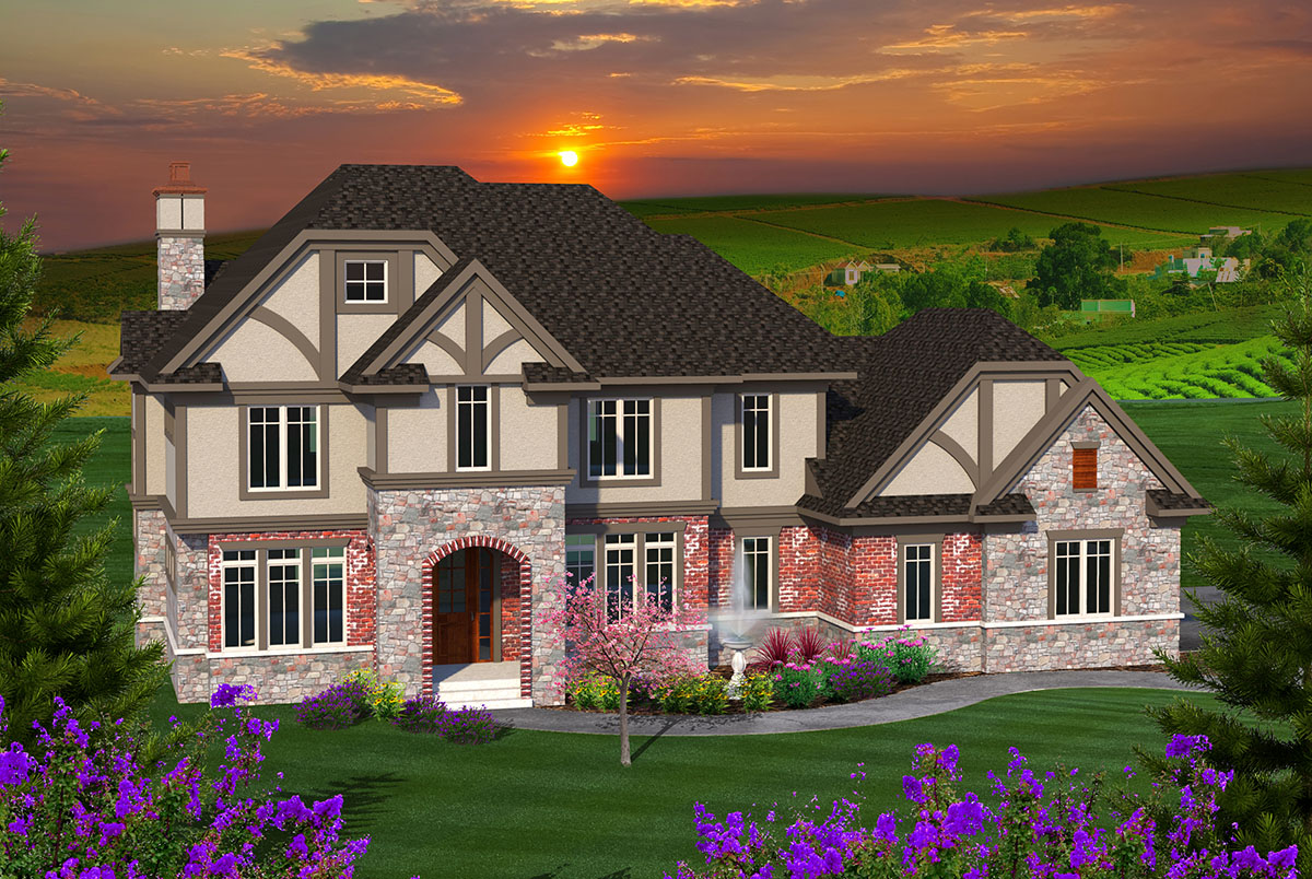 Tudor Meets Country French - 89949ah Architectural