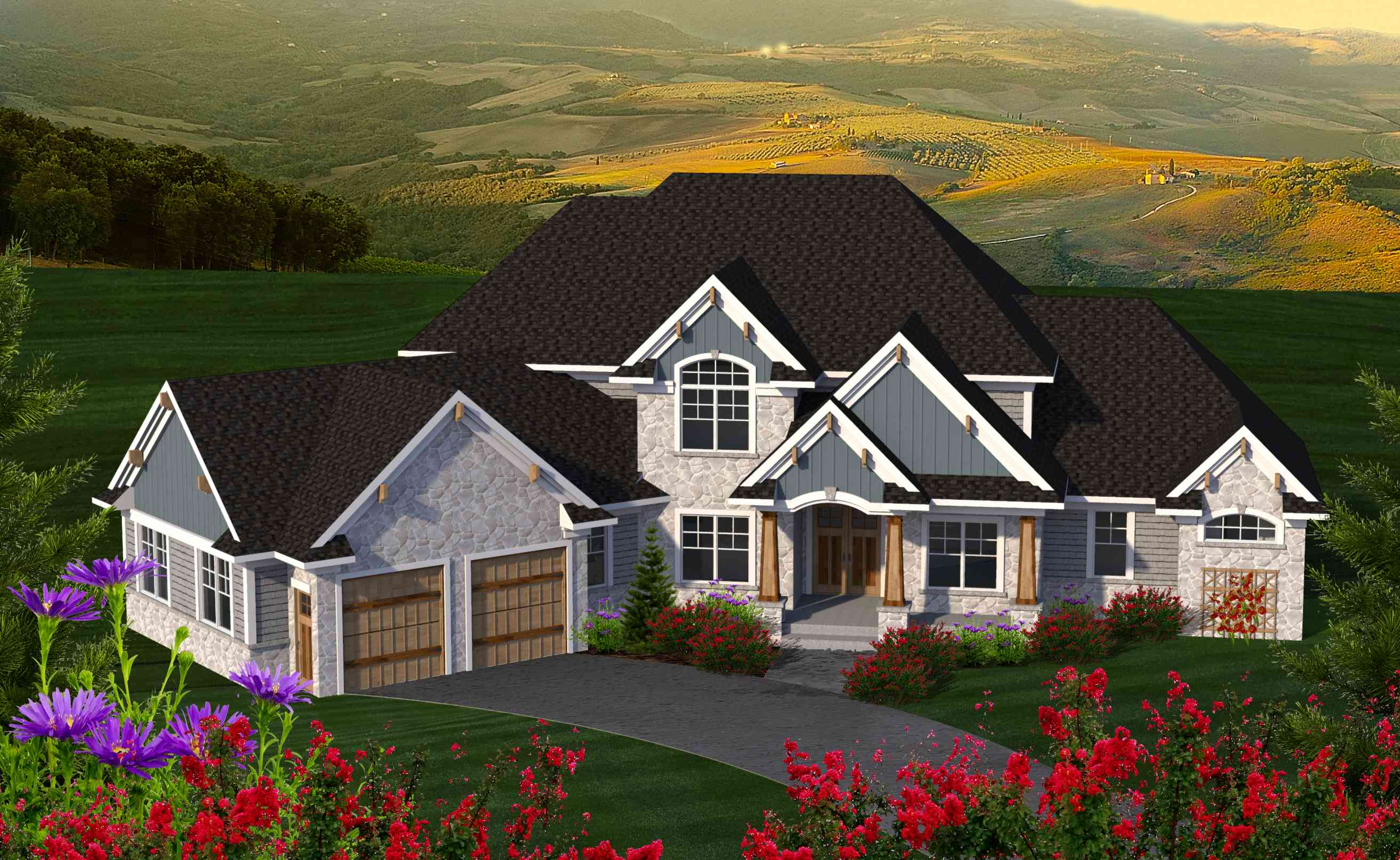 4 Bed House Plan With Angled Garage - 89977ah 1st Floor