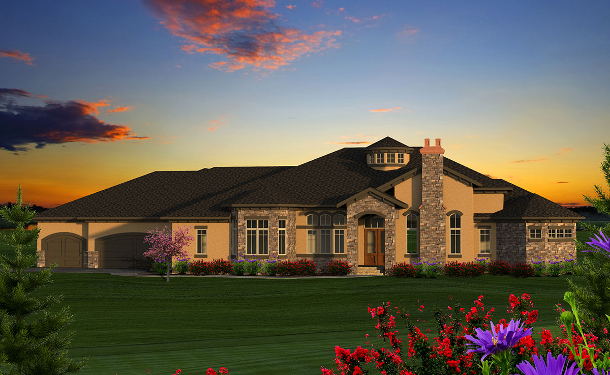 Luxury 4 Tuscan Ranch House Plan 89978AH 1st Floor