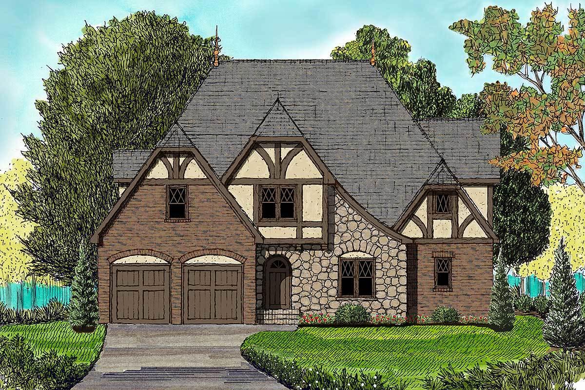 Tudor With Bonus Room - 93026el Architectural Design