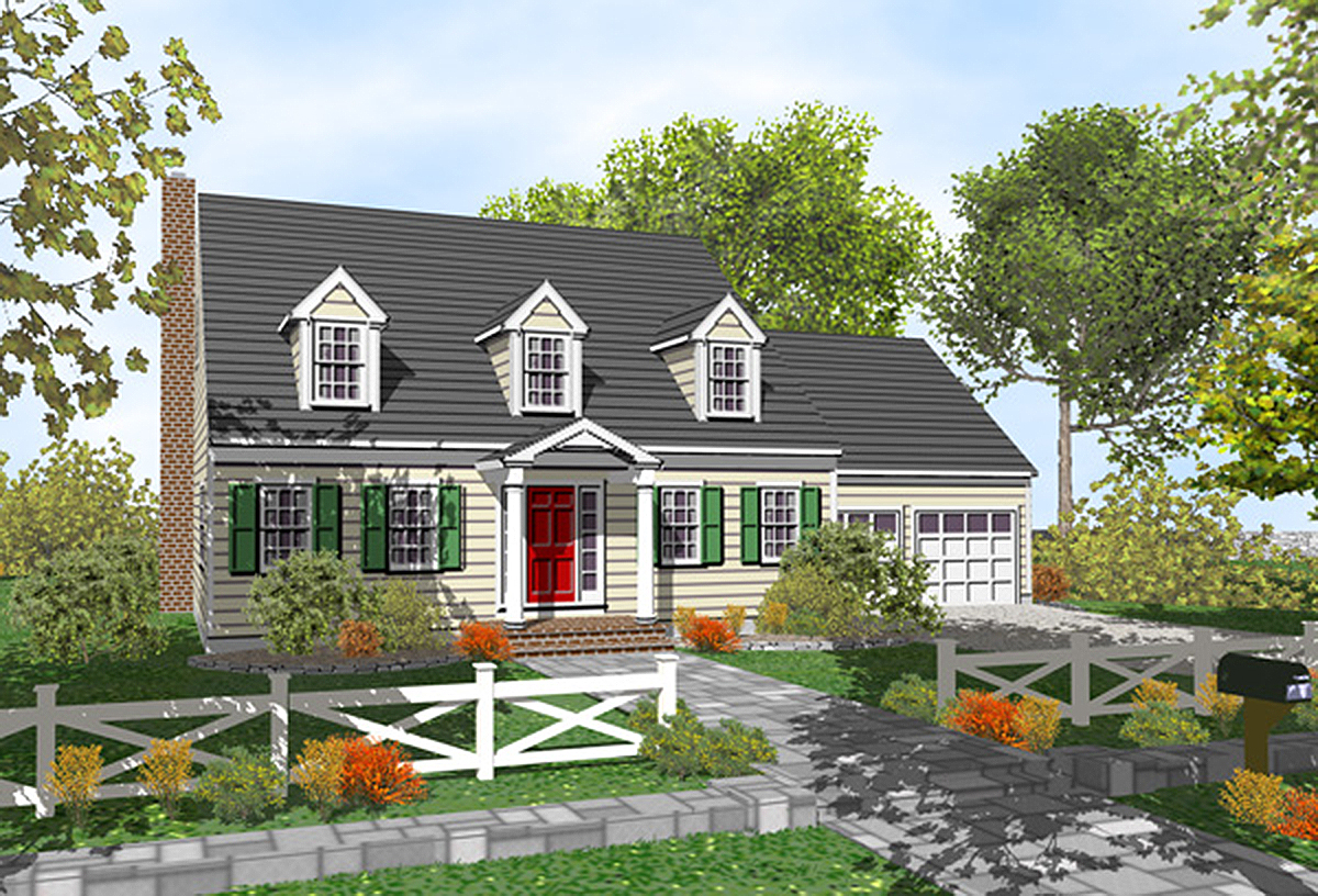 2 Story Cape Cod House Plan